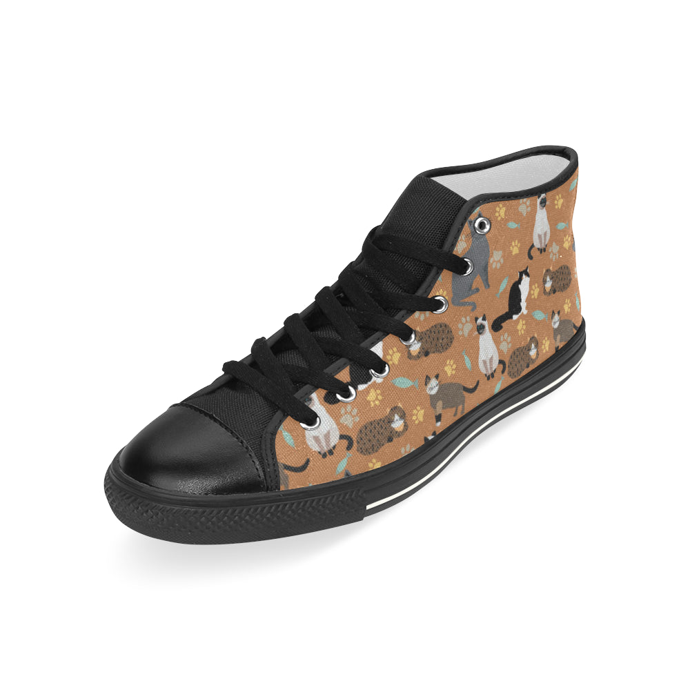 Cat Pattern Black Men's Classic High Top Canvas Shoes - TeeAmazing