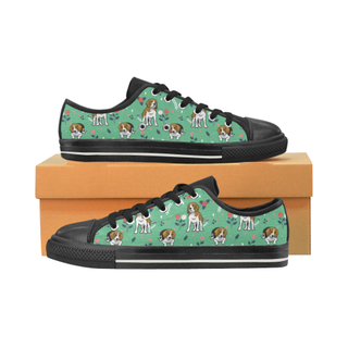 Beagle Flower Black Canvas Women's Shoes/Large Size (Model 018) - TeeAmazing