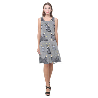 Highlander Cat Sleeveless Splicing Shift Dress - TeeAmazing