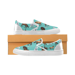 Horse Pattern White Women's Slip-on Canvas Shoes (Model 019) - TeeAmazing