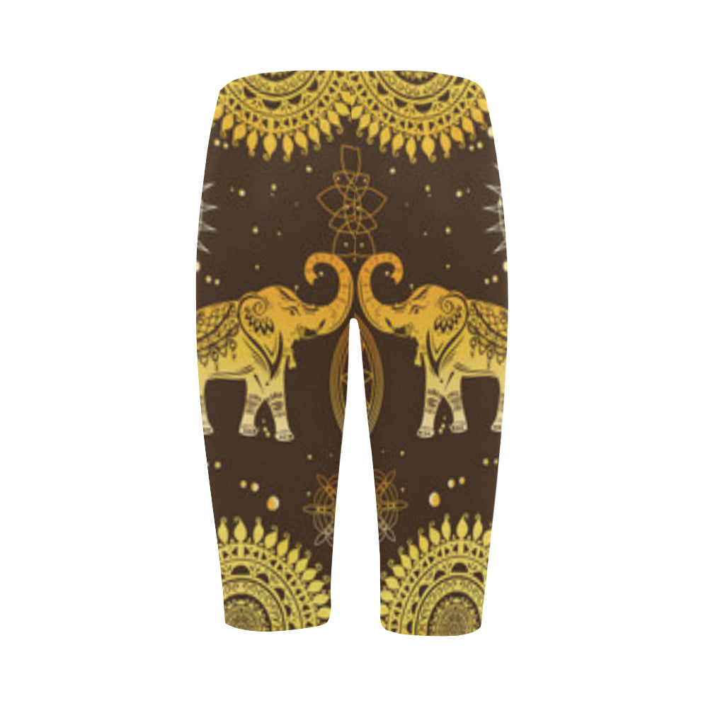 Elephant and Mandalas Hestia Cropped Leggings (Model L03) - TeeAmazing