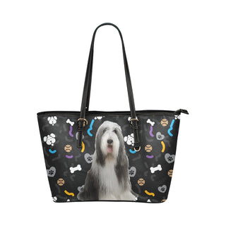 Bearded Collie Dog Leather Tote Bag/Small - TeeAmazing