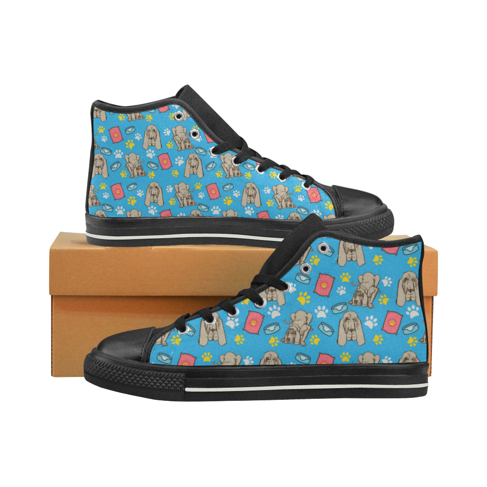 Bloodhound Pattern Black High Top Canvas Women's Shoes/Large Size - TeeAmazing