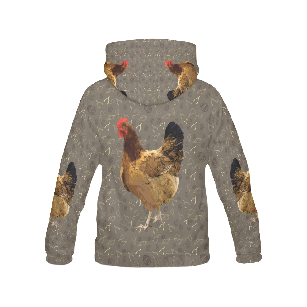 Chicken Footprint All Over Print Hoodie for Men - TeeAmazing
