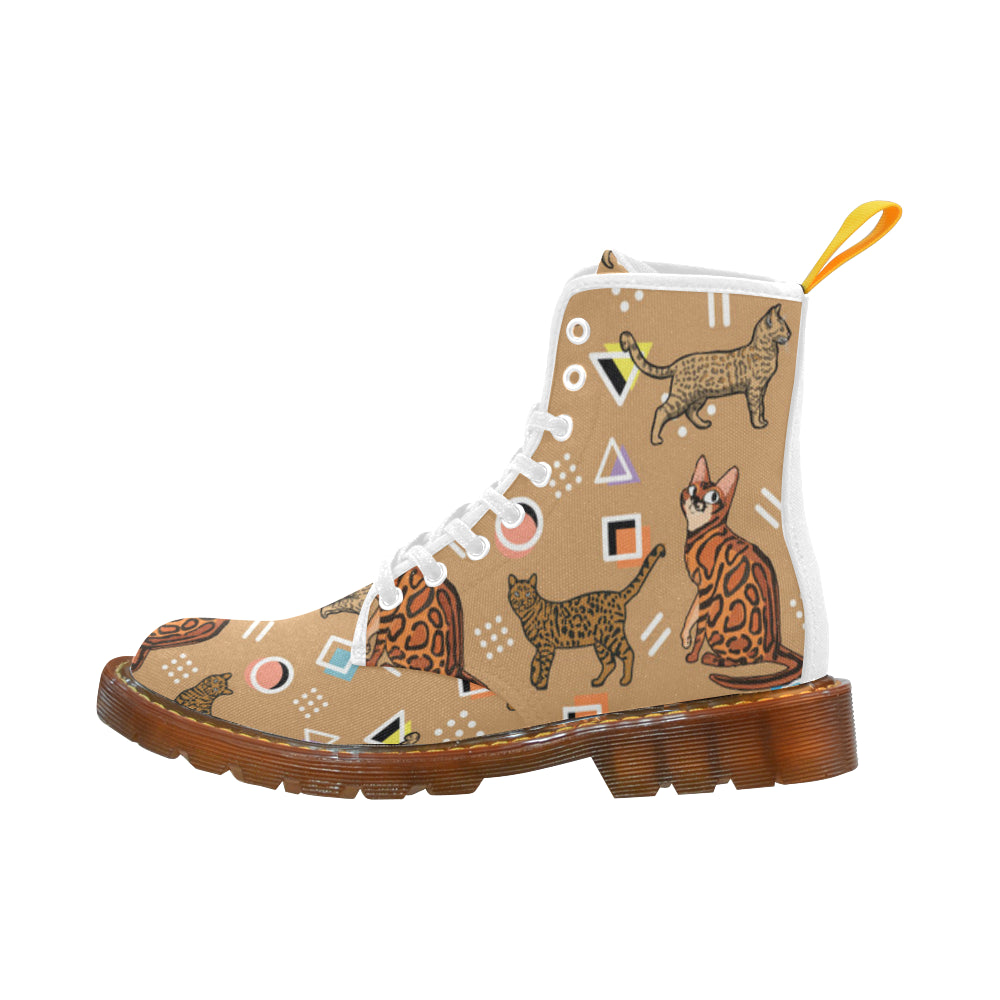 Bengal Cat White Boots For Men - TeeAmazing