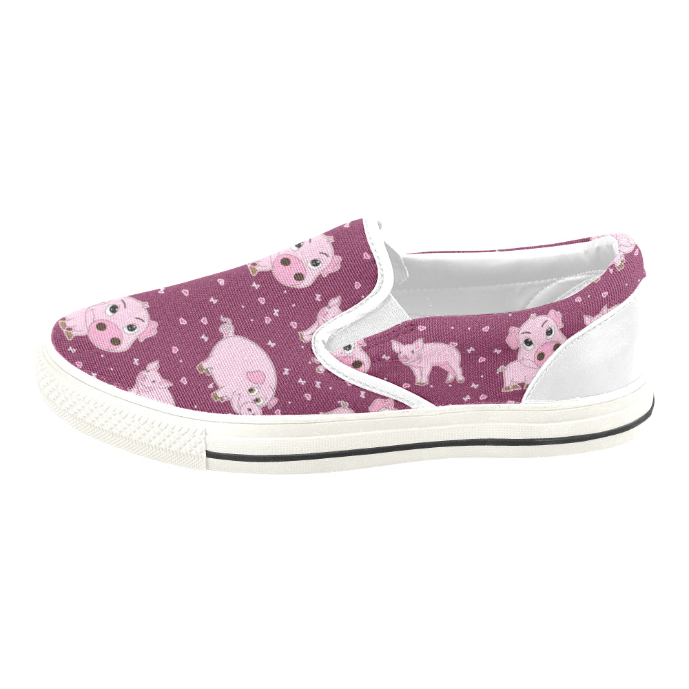 Pig White Women's Slip-on Canvas Shoes/Large Size (Model 019) - TeeAmazing