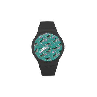 Alaskan Malamute Water Colour Pattern No.1 Black Unisex Round Rubber Sport Watch - TeeAmazing