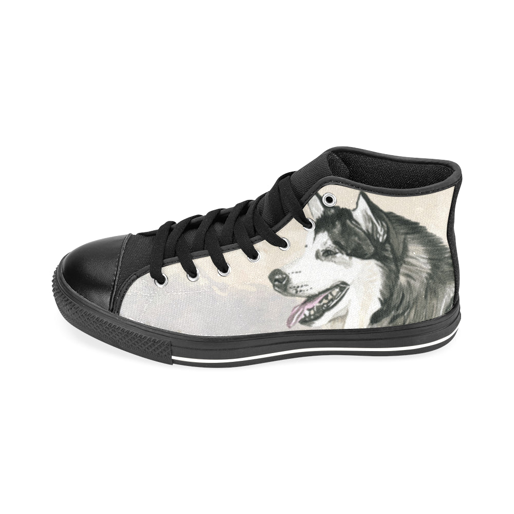 Alaskan Malamute Water Colour Black Men's Classic High Top Canvas Shoes /Large Size - TeeAmazing