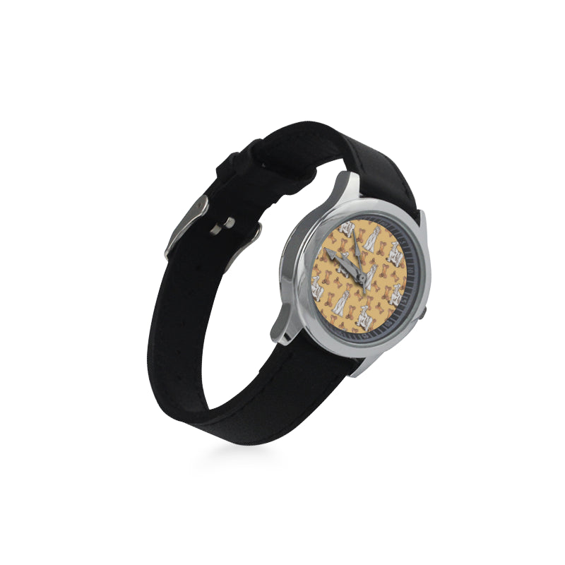 Afghan Hound Pattern Kid's Stainless Steel Leather Strap Watch(Model 208) - TeeAmazing