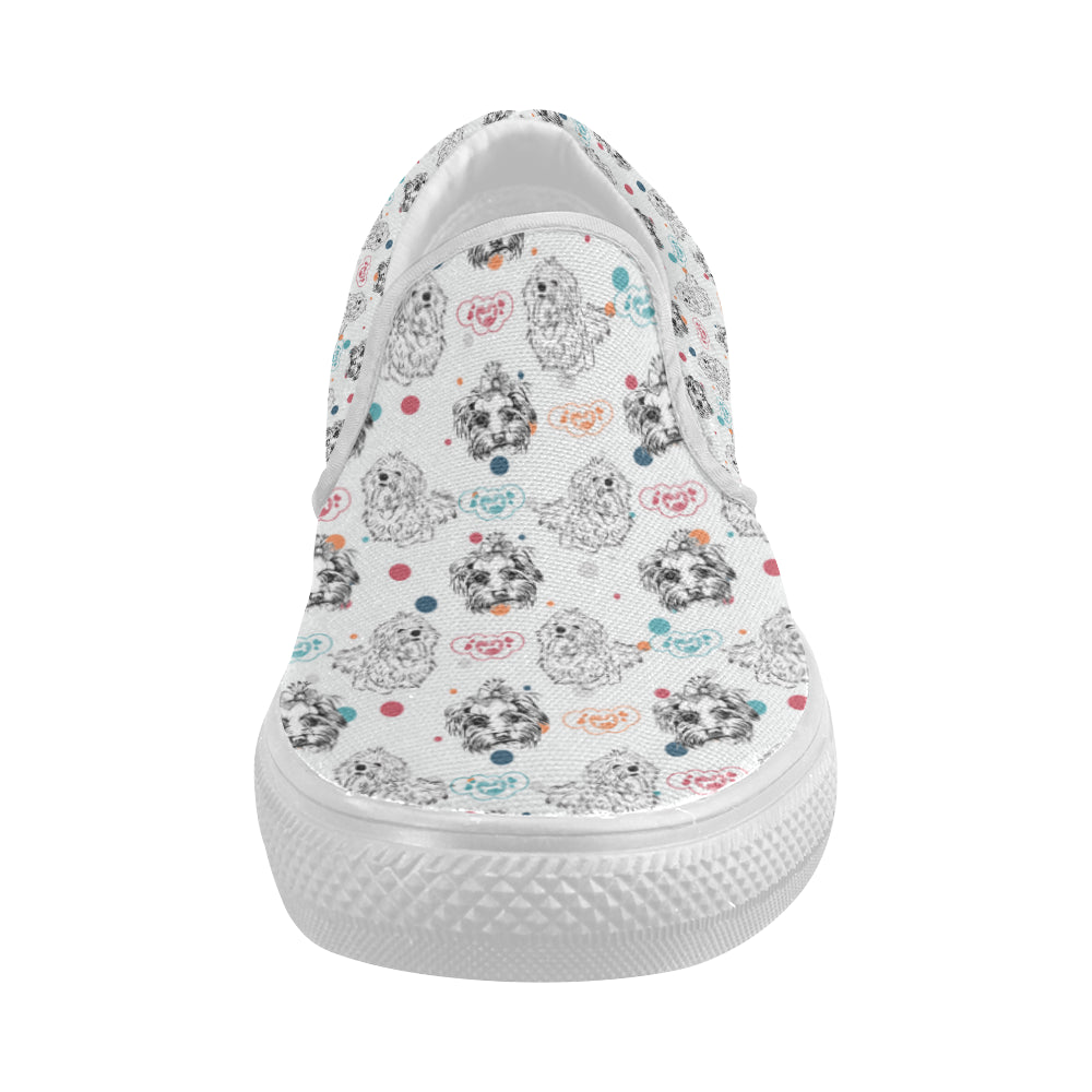 Maltese Pattern White Women's Slip-on Canvas Shoes - TeeAmazing