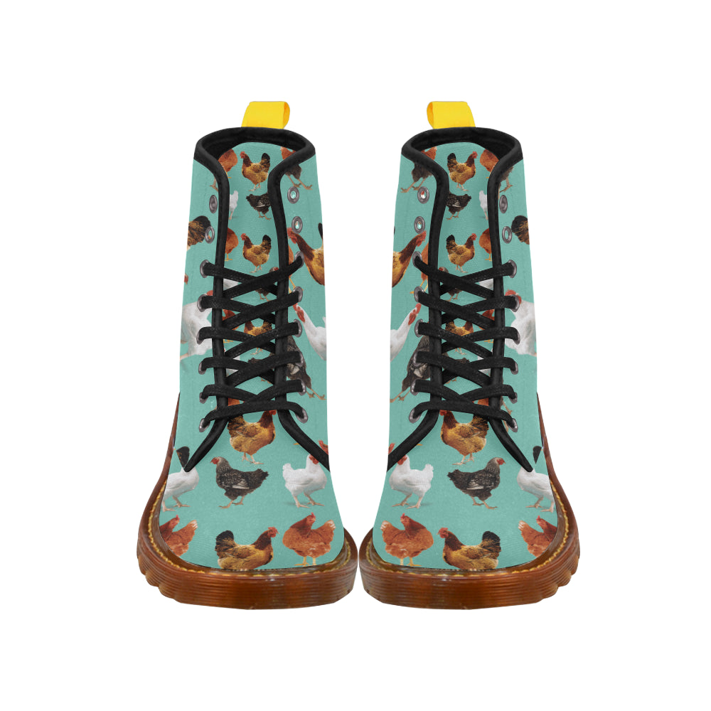 Chicken Pattern Black Boots For Men - TeeAmazing