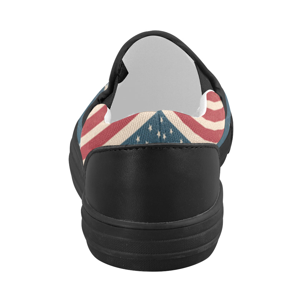 4th July V2 Black Women's Slip-on Canvas Shoes - TeeAmazing