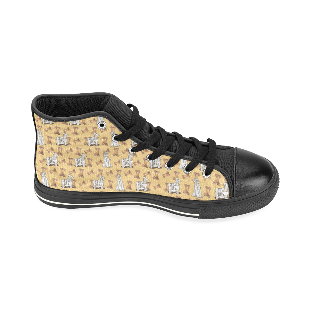 Afghan Hound Pattern Black High Top Canvas Women's Shoes/Large Size - TeeAmazing