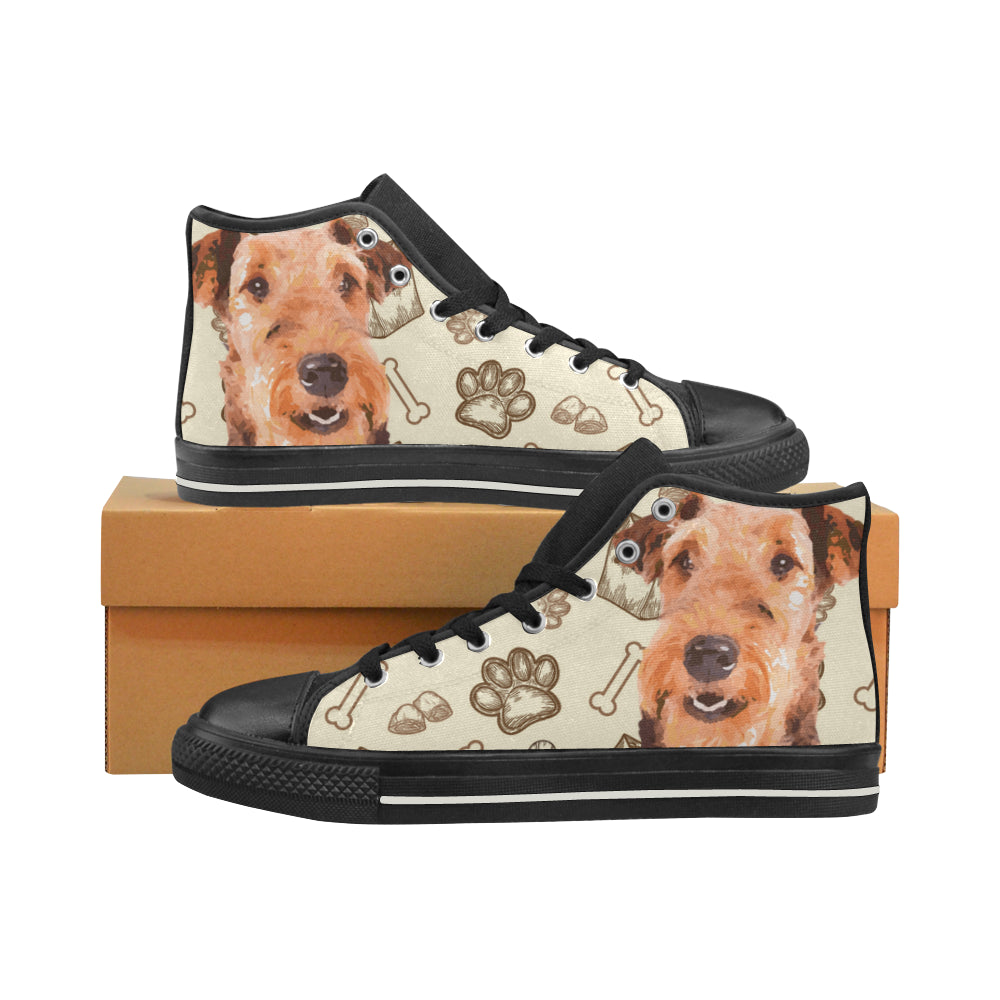 Airedale Terrier Black High Top Canvas Shoes for Kid - TeeAmazing