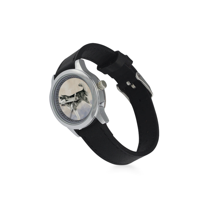 Alaskan Malamute Water Colour Kid's Stainless Steel Leather Strap Watch - TeeAmazing