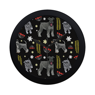 Miniature Schnauzer Flower Black Circular Plastic Wall clock - TeeAmazing