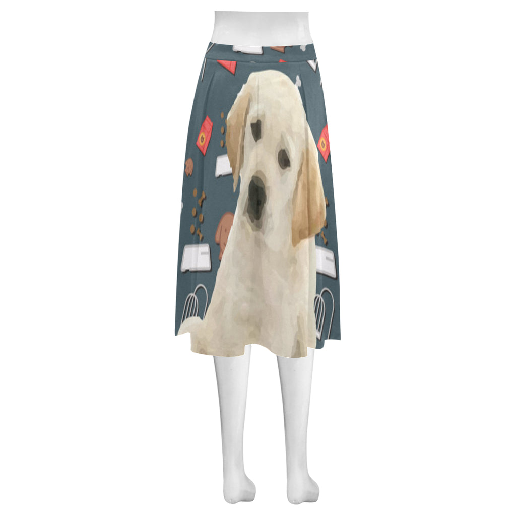 Goldador Dog Mnemosyne Women's Crepe Skirt (Model D16) - TeeAmazing
