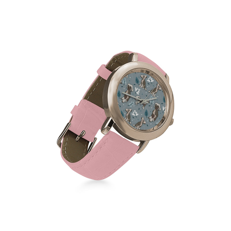 Chinese Crested Women's Rose Gold Leather Strap Watch - TeeAmazing