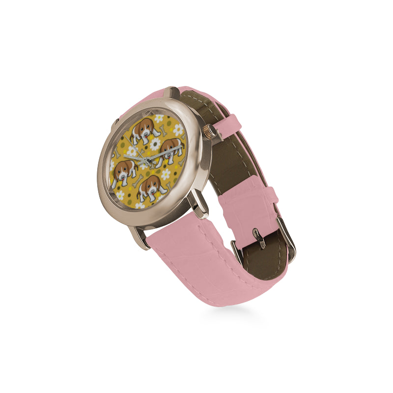 Beagle Women's Rose Gold Leather Strap Watch - TeeAmazing