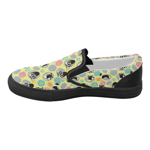 Boston Terrier Pattern Black Women's Slip-on Canvas Shoes (Model 019) - TeeAmazing
