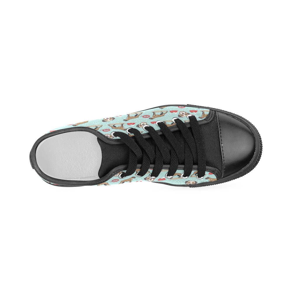 Boxer Pattern Black Women's Classic Canvas Shoes - TeeAmazing