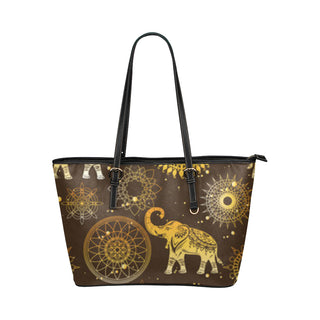 Elephant and Mandalas Leather Tote Bag/Small - TeeAmazing