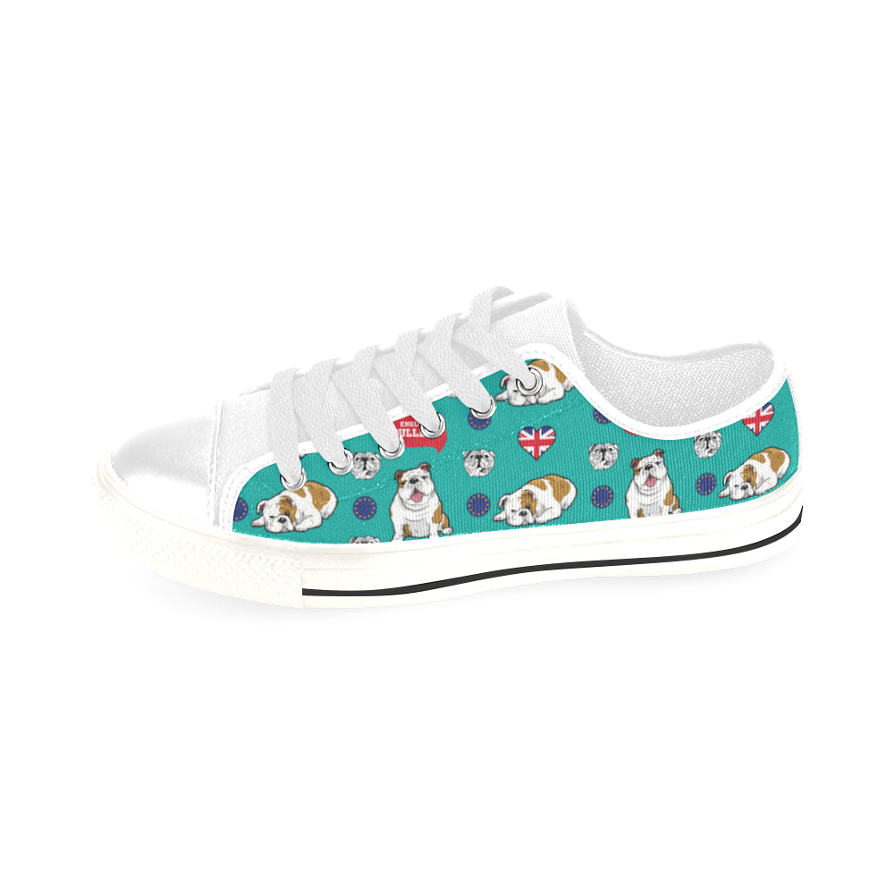 English Bulldog White Men's Classic Canvas Shoes/Large Size - TeeAmazing