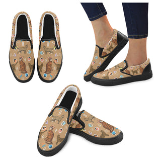 Bengal Cat Black Women's Slip-on Canvas Shoes - TeeAmazing