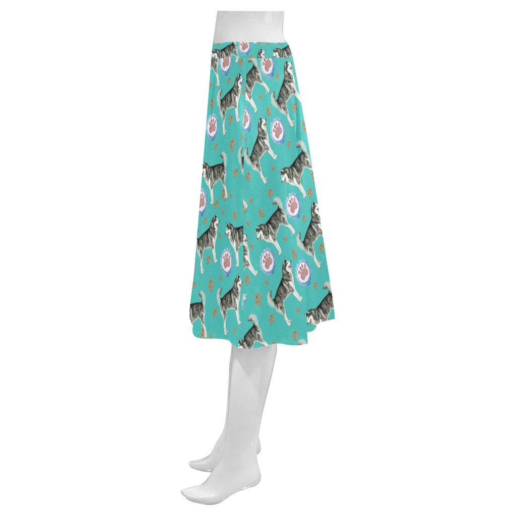 Alaskan Malamute Water Colour Pattern No.1 Mnemosyne Women's Crepe Skirt (Model D16) - TeeAmazing