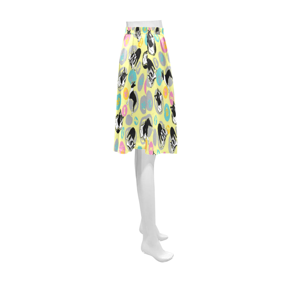 Boston Terrier Pattern Athena Women's Short Skirt - TeeAmazing
