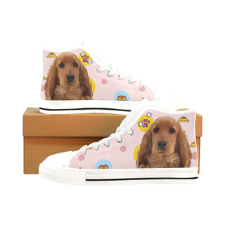 English Cocker Spaniel White Men's Classic High Top Canvas Shoes /Large Size - TeeAmazing