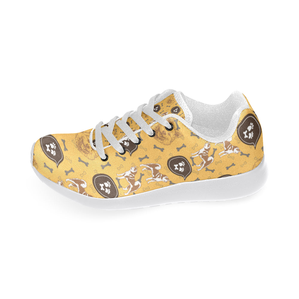Akita Pattern White Sneakers for Men - TeeAmazing