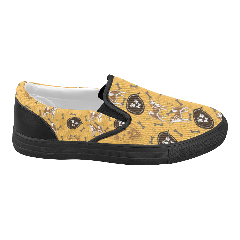 Akita Pattern Black Women's Slip-on Canvas Shoes (Model 019) - TeeAmazing