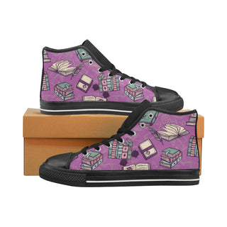 Book Lover Black High Top Canvas Shoes for Kid - TeeAmazing