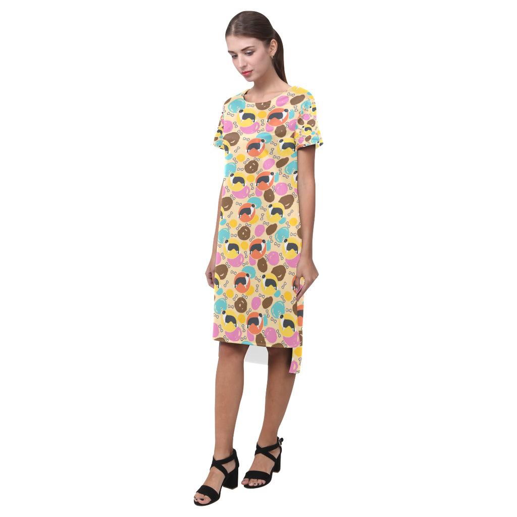 Border Collie Pattern Short Sleeves Casual Dress - TeeAmazing