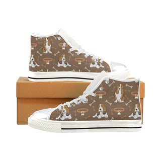 Basset Fauve White High Top Canvas Women's Shoes/Large Size (Model 017) - TeeAmazing
