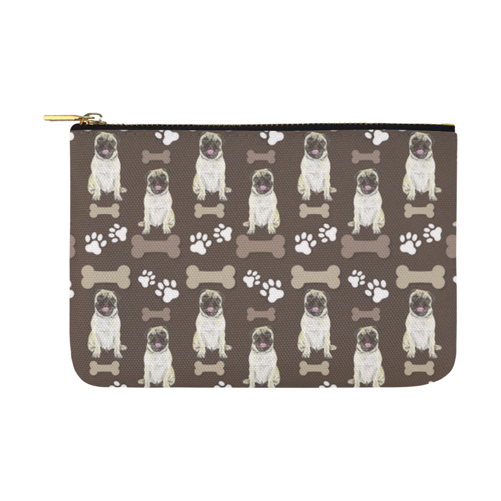 Pug Water Colour Pattern No.1 Carry-All Pouch 12.5x8.5 - TeeAmazing