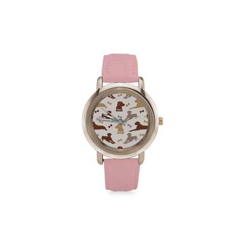 Labrador Retriever Pattern Women's Rose Gold Leather Strap Watch - TeeAmazing