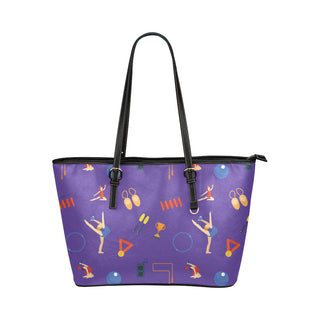 Gymnastics Pattern Leather Tote Bag/Small - TeeAmazing