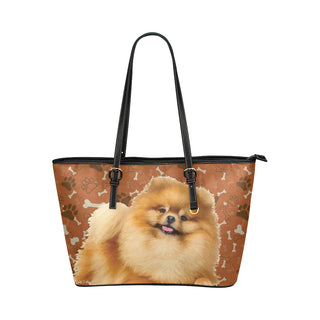 Pomeranian Dog Leather Tote Bag/Small - TeeAmazing