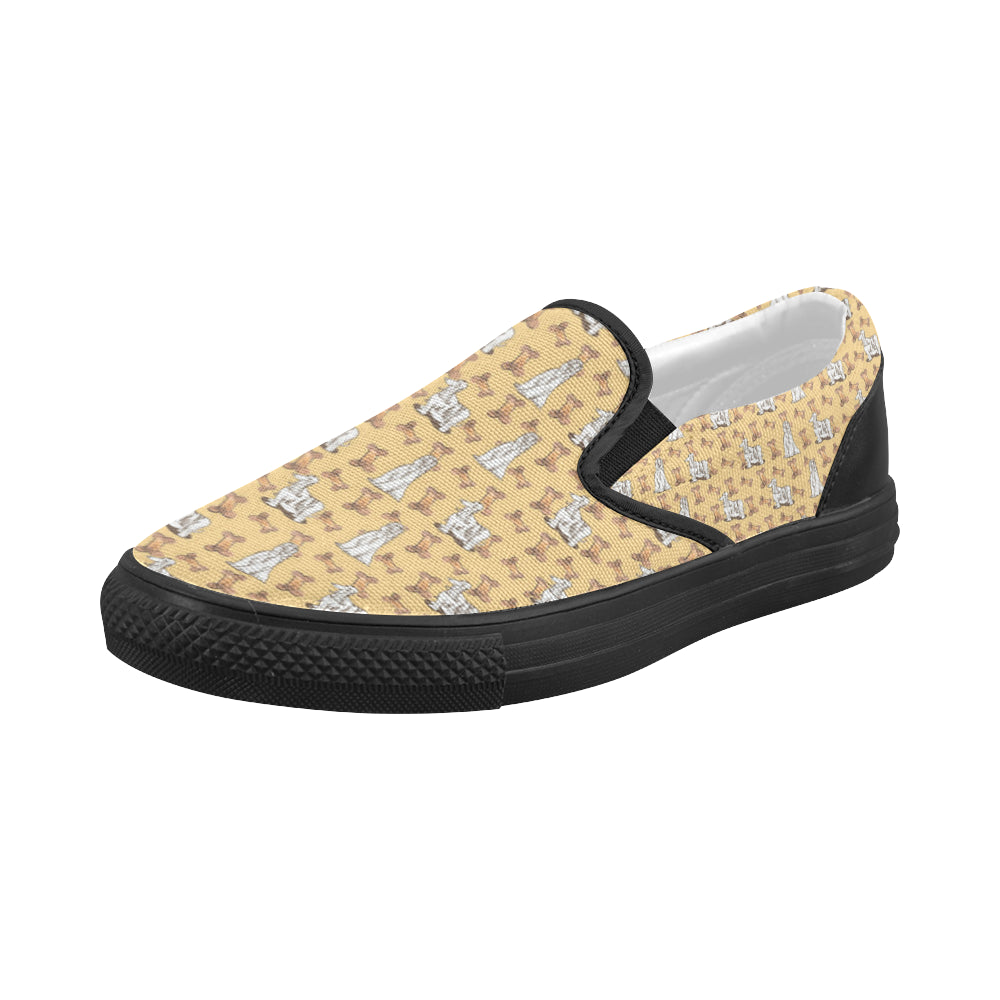 Afghan Hound Pattern Black Women's Slip-on Canvas Shoes - TeeAmazing