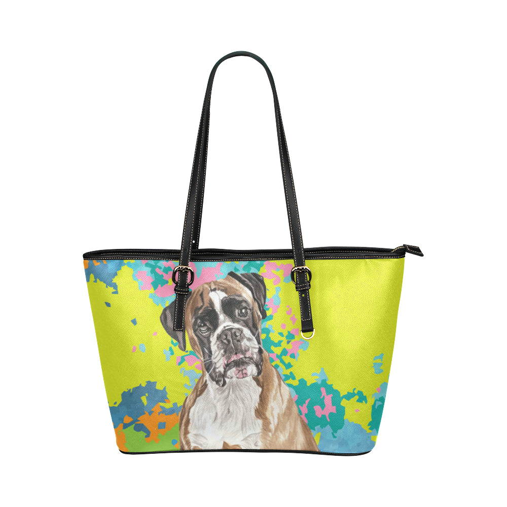 Boxer Water Colour No.2 Leather Tote Bag/Small - TeeAmazing