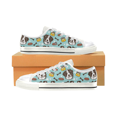 Bernese Mountain Pattern White Women's Classic Canvas Shoes - TeeAmazing