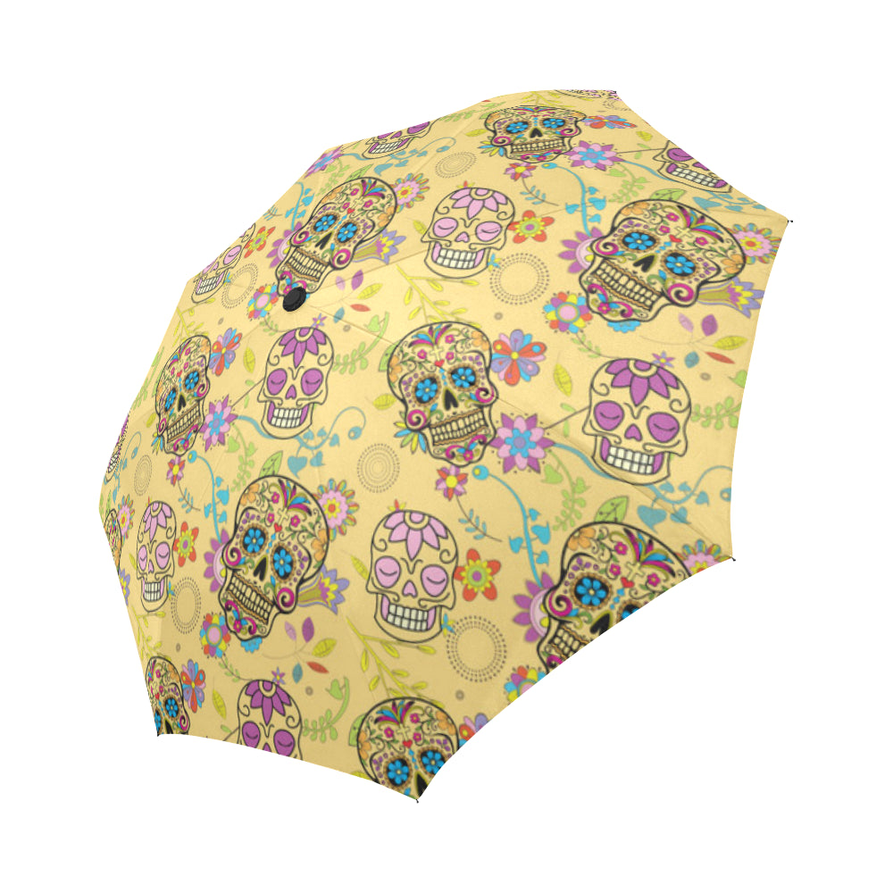 Sugar Skull Auto-Foldable Umbrella - TeeAmazing