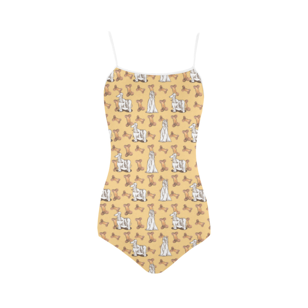 Afghan Hound Pattern Strap Swimsuit - TeeAmazing