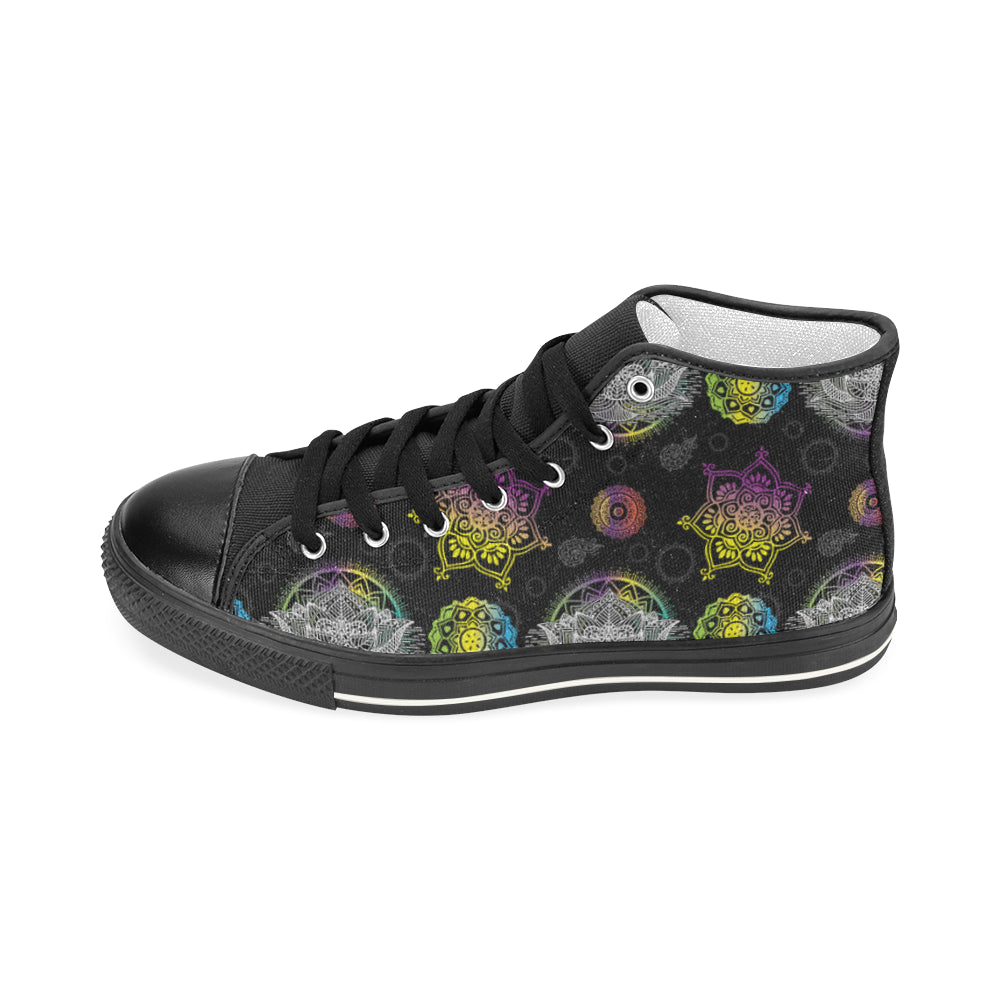 Lotus and Mandalas Black Men's Classic High Top Canvas Shoes - TeeAmazing