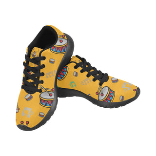 Bass Drum Pattern Black Men's Running Shoes (Model 020) - TeeAmazing