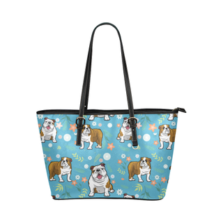English Bulldog Flower Leather Tote Bag/Small - TeeAmazing