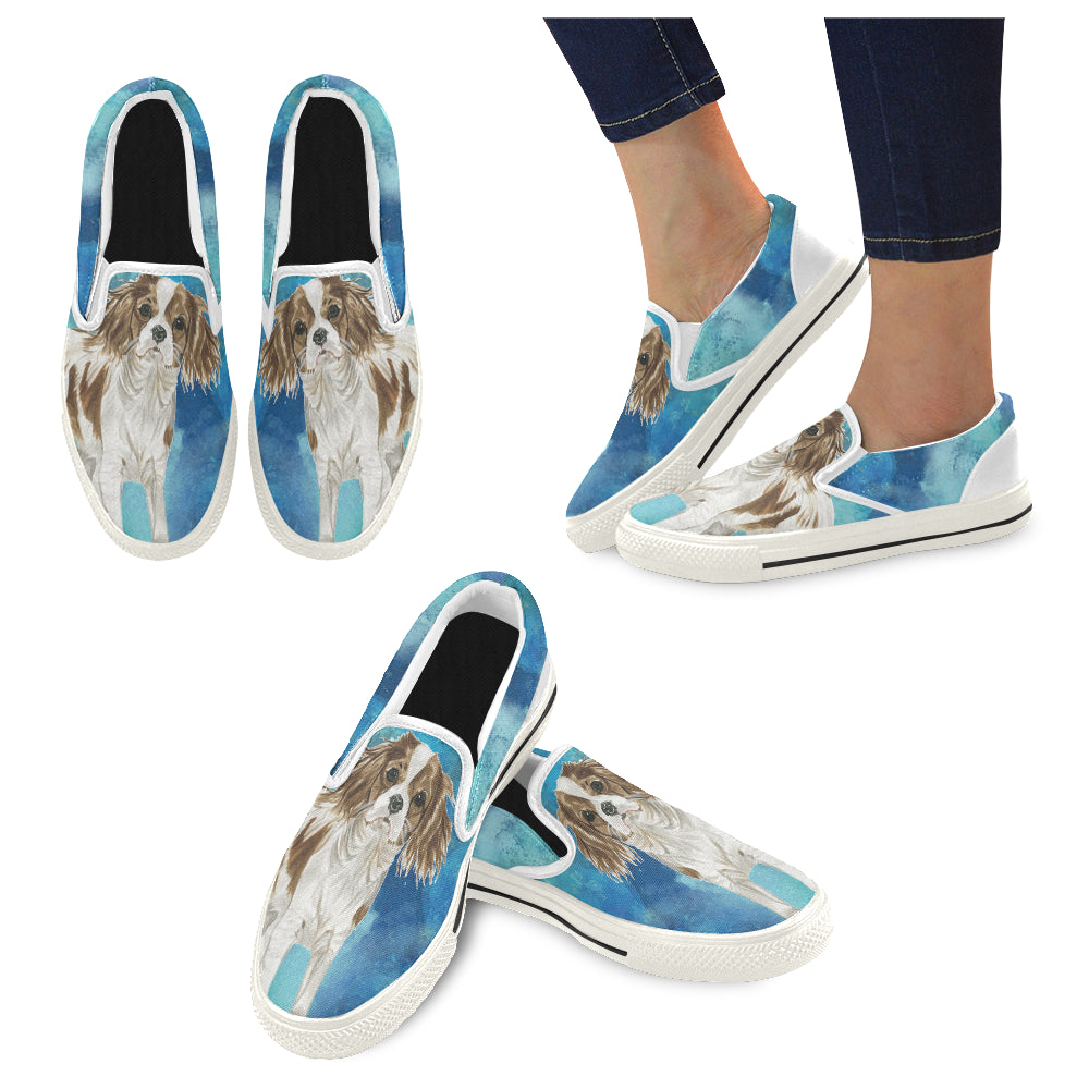 Cavalier King Charles Spaniel Water Colour No.1 White Women's Slip-on Canvas Shoes/Large Size (Model 019) - TeeAmazing