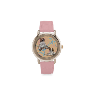 Brittany Spaniel Flower Women's Rose Gold Leather Strap Watch - TeeAmazing